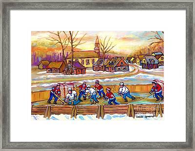 Canadian Village Scene Hockey Game Quebec Winter Landscape Outdoor Hockey Carole Spandau Framed Print by Carole Spandau