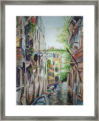 Framed Print featuring the painting Canal 2 by Becky Kim