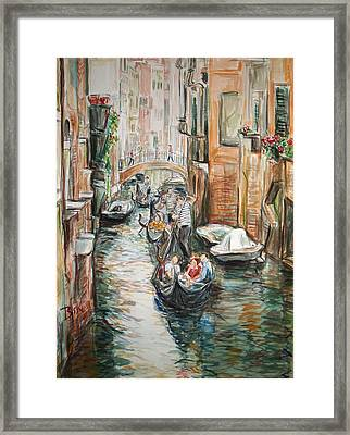 Framed Print featuring the painting Canal 3 Row A Boat by Becky Kim