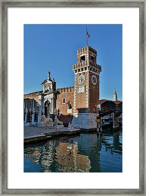 Canal And Bridge In Front Framed Print by Darrell Gulin