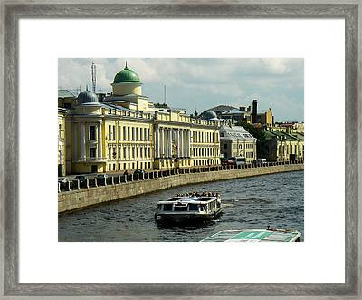 Canal And Historic Buildings Saint Petersburg Russia Framed Print by Robert Ford