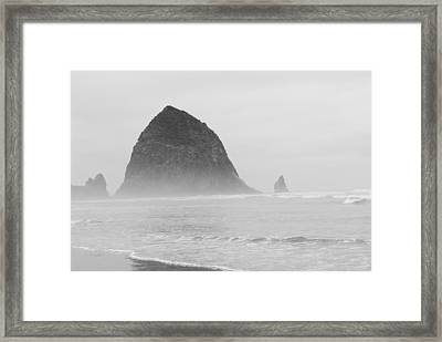 Canal Beach Oregon Black And White Framed Print