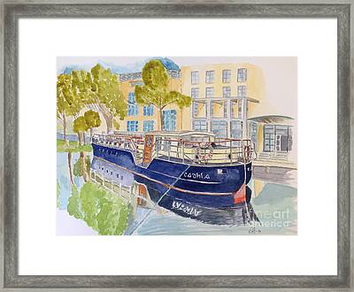 Framed Print featuring the painting Canal Boat by Eva Ason