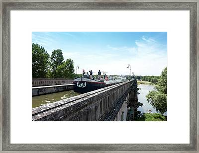 Canal Boat On The Briare Aqueduct Framed Print by Louise Murray
