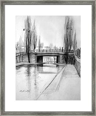 Canal Bridge In Paris Framed Print