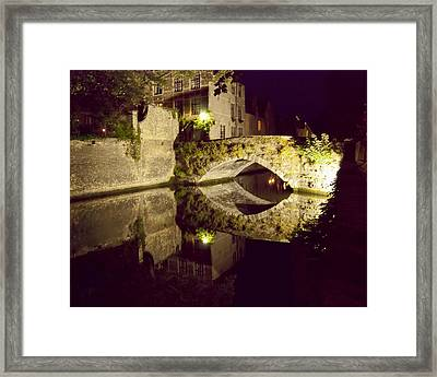 Canal Bridge Reflection Framed Print