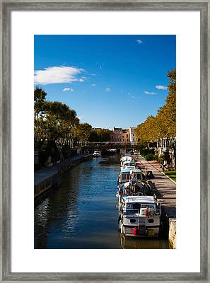 Canal De La Robine By The Cours Framed Print by Panoramic Images