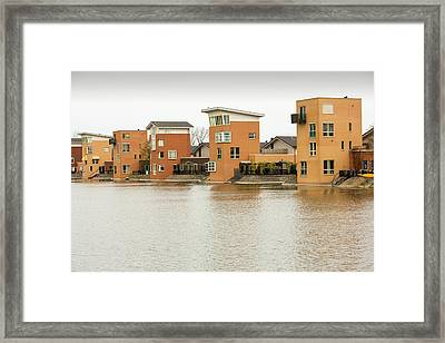 Canal Front Houses In Heerhugowaard Framed Print by Ashley Cooper