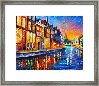 Canal In Amsterdam Framed Print
