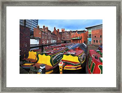 Canal Narrow Boats At The Gas Street Framed Print by Panoramic Images