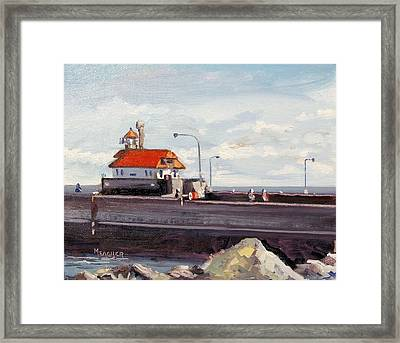 Canal Park Lighthouse Duluth Framed Print by Spencer Meagher