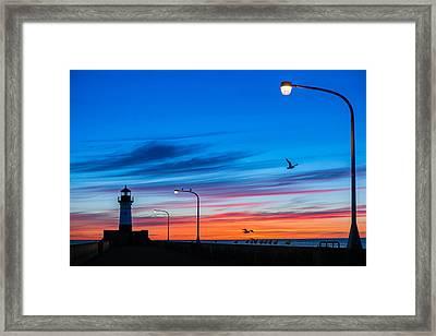 Canal Park Sunrise Framed Print