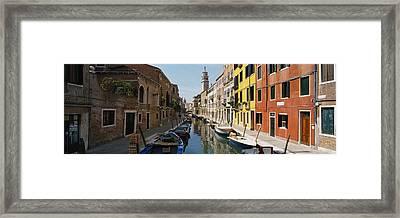 Canal Passing Through A City, Venice Framed Print