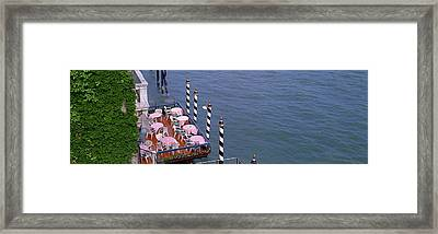 Canal Side Cafe Venice Italy Framed Print by Panoramic Images