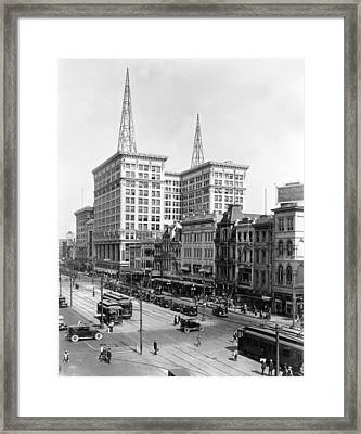 Canal Street In New Orleans Framed Print by Underwood Archives