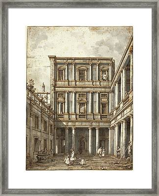 Canaletto, Italian 1697-1768, A Venetian Courtyard Framed Print by Litz Collection