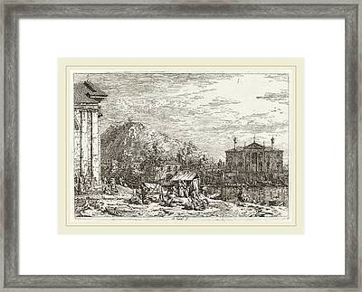 Canaletto Italian, 1697-1768, The Market At Dolo Lower Left Framed Print by Litz Collection