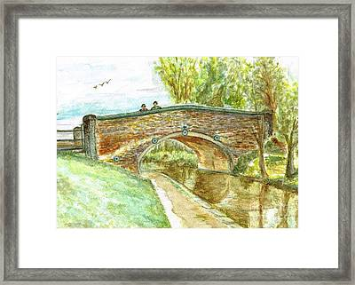 Framed Print featuring the painting Canal-bridal Path In Staffordshire  by Teresa White