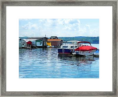 Canandaigua Fishing Shacks Framed Print by Susan Savad