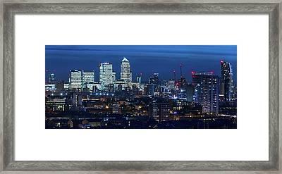 Canary Wharf And Stratford Framed Print by Kenny Mccartney