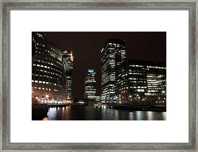 Canary Wharf At Night Framed Print by Dan Davidson