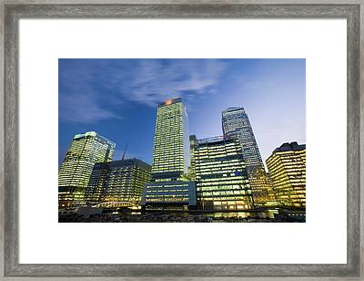 Canary Wharf In London Uk Framed Print by Ashley Cooper