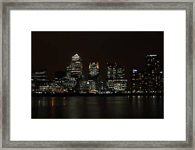 Canary Wharf Skyline Framed Print by Dan Davidson