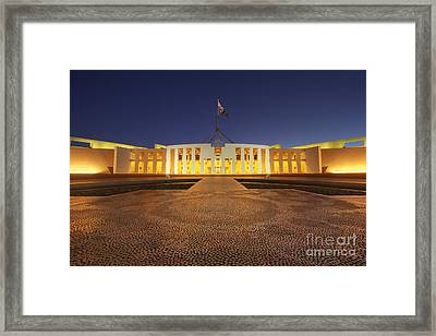 Canberra Australia Parliament House Twilight Framed Print by Colin and Linda McKie