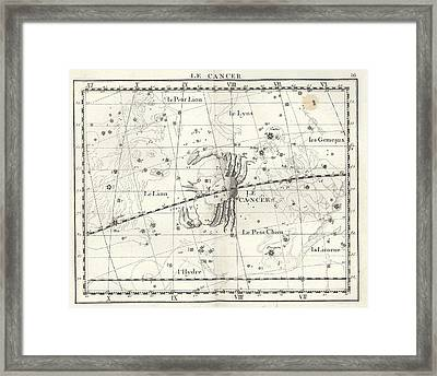Cancer Constellation, Zodiac, 1729 Framed Print by U.S. Naval Observatory Library