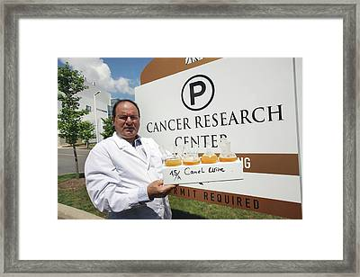 Cancer Research With Urine Framed Print by Thierry Berrod, Mona Lisa Production