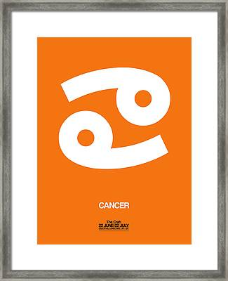 Cancer Zodiac Sign White On Orange Framed Print by Naxart Studio