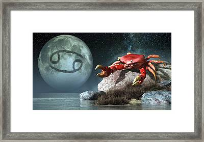 Cancer Zodiac Symbol Framed Print by Daniel Eskridge