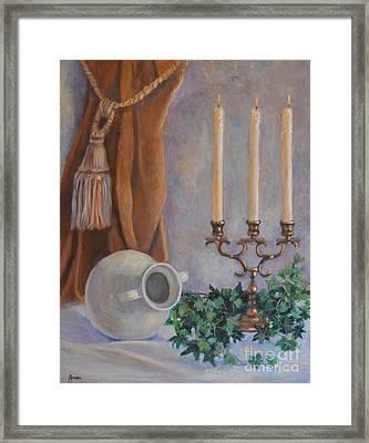 Candelabra With White Vase Framed Print by Jana Baker