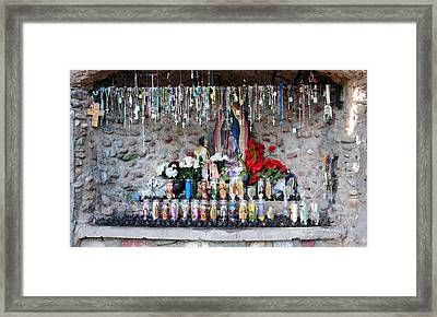 Candels And Rosaries Framed Print by Carla P White