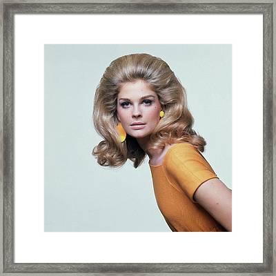 Candice Bergen Wearing Mimi Di N Earrings Framed Print by Bert Stern