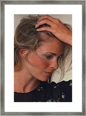 Candice Bergen With Her Hand On Her Head Framed Print