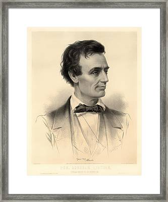 Candidate For The Presidency Abraham Lincoln 1860 Framed Print