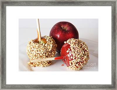 Candied Caramel And Regular Red Apple Framed Print by James BO  Insogna