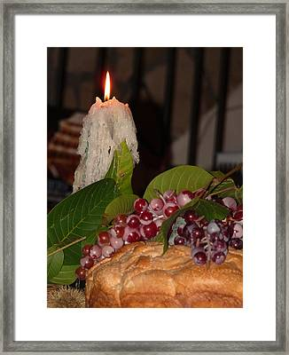 Candle And Grapes Framed Print by Marcia Socolik