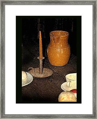 Candle And Pitcher Framed Print by Tod Ramey