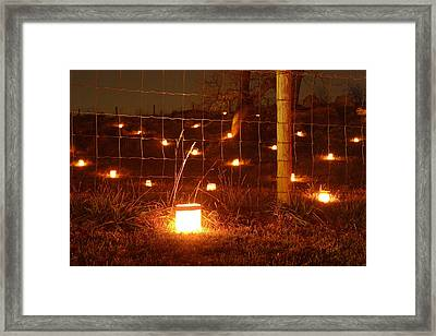 Candle At Wire Fence 12 Framed Print by Judi Quelland