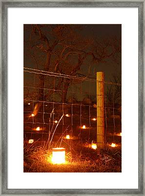 Framed Print featuring the photograph Candle At Wire Fence 2 - 12 by Judi Quelland