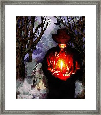 Candle Light At The Graveyard Framed Print by Tyler Robbins
