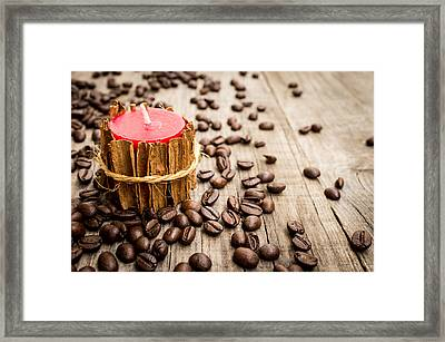 Candle Wrapped In Cinnamon  Framed Print by Aged Pixel