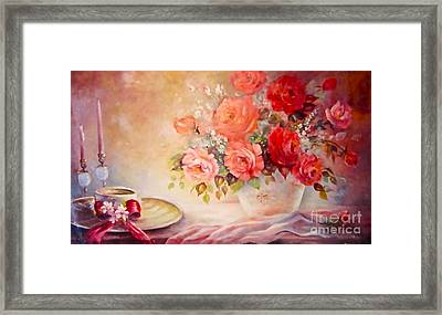 Candlelight Roses And Hat Framed Print by Patricia Schneider Mitchell