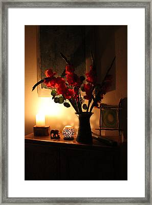 Candles And Orange Gladiolus Framed Print by Ron McMath