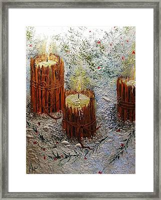 Framed Print featuring the painting Candles In The Snow.. by Cristina Mihailescu