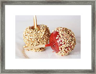 Candy And Caramel Taffy Apples On A White Plate Framed Print by James BO  Insogna