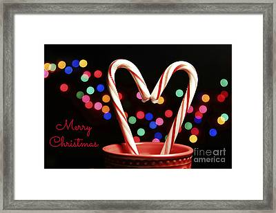 Candy Cane Heart Card Framed Print