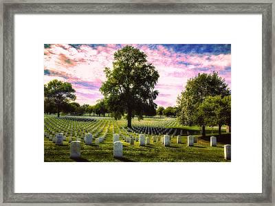 Candy Colored Gravyard Skies Framed Print by Bill Tiepelman